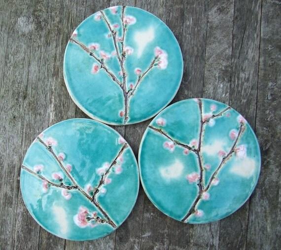 Special listing for Claire ceramic cherry blossom pendant, round turquoise crackle glaze, Sakura