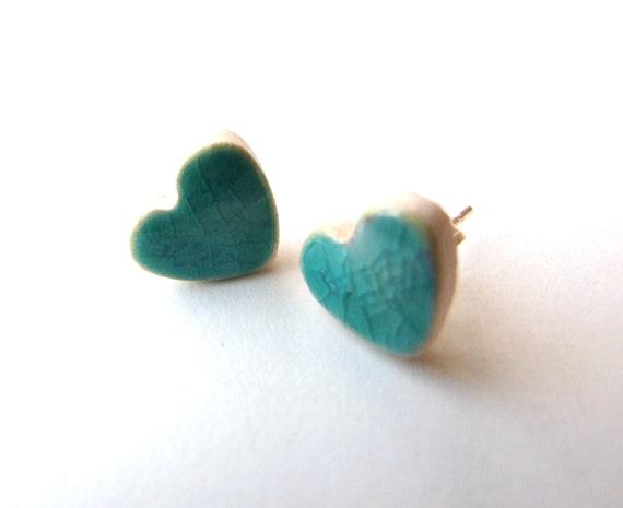Turquoise heart earrings, Valentines's gift, ceramic crackle glaze stud posts, aqua blue
