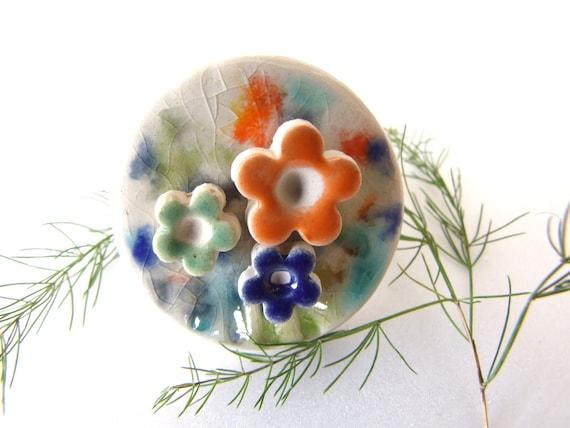 Flower Power Ring Ceramic Orange Lime and Blueberry fruit glazed flowers, adjustable ring base