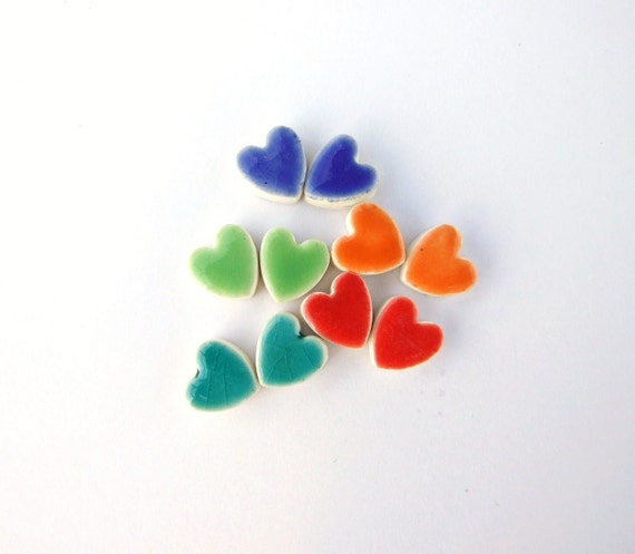 Colourful heart ceramic earrings, cute colorful gift for her, hypoallergenic stud posts