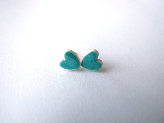 Heart earrings turquoise crackle glaze ceramic studs