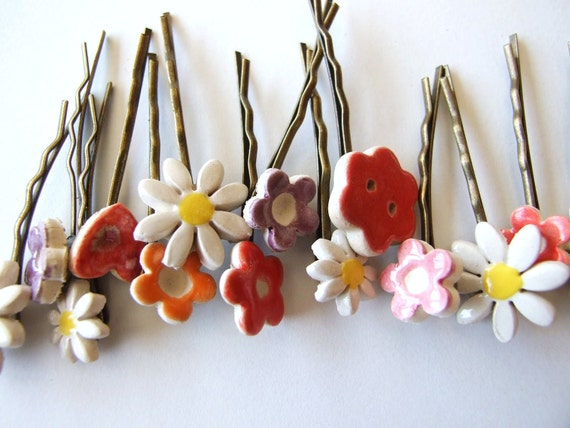 2 cute bobby pins flower daisy antique bronze hair clips Spring, Summer hair pins
