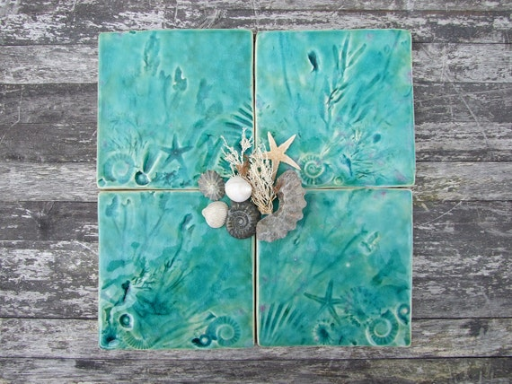 Coaster set of 4 Ceramic tiles shells seaweed fossils Beach Summer Lyme Regis Jurassic coast  green turquoise MADE TO ORDER