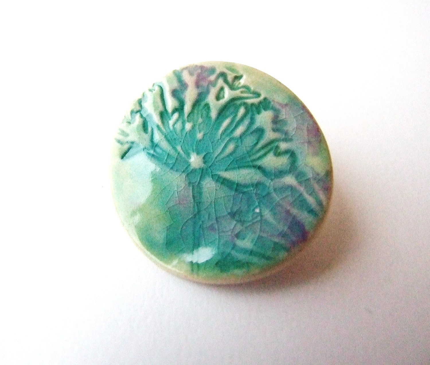 Green brooch ceramic crackle glaze blushes of pink Agapanthus Spring time