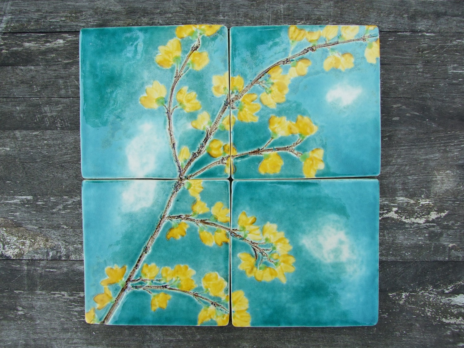 4 ceramic tiles yellow forsythia turquoise crackle glaze - Yellow and turquoise bathroom ...