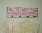 "Pink, Brown, Rustic, Shabby Chic, Baby girl, Nursery, Girl's Room, ""Now I know my ABC's"" Peg Rack, Antique barn wood. Shower gift."