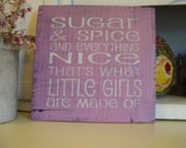 "Rustic  Nursery Sign ""Sugar and Spice and Everything Nice"" Hand painted, Shabby, Cottage, Chic Purple. Nursery, girls room."