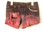 Destroyed, studded ombre shorts