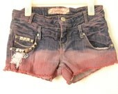 Pink and purple studed ombre shorts