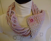 Necklace,Neck Warmer, Accessory , Pink Lilac  pale blue Lurex Crocheted