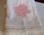 Shabby Chic,White Towel,Embroidered, Lace Rose,Valentine Gift,bathroom towel