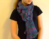 Baby girl,scarf multicolor,natural linen and cotton,knitted,with crocheted double flower