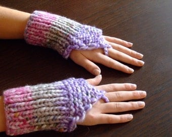 Fingerless gloves mittens multicolor knitted,gloves for girl