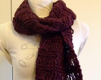 Burgundy,wine,scarf neck warmer wool knitted