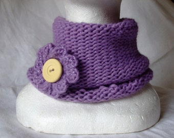 Neck Warmer Lilac, blend wool  with crocheted Flower Brooch