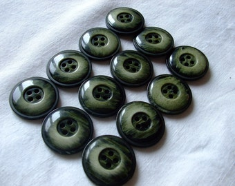 12 Black and  Green buttons,plastic,Vintage,2,2cm,supplies