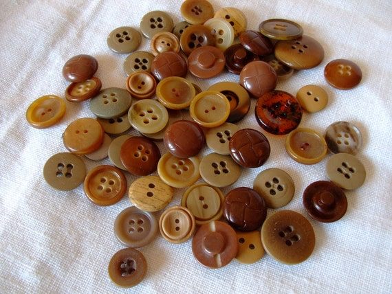 Brown Buttons,Vintage Brown Buttons, mix of 57 pcs