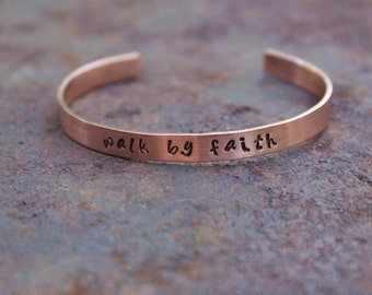 "Personalized Hand Stamped 1/4"" Copper Cuff Bracelet"