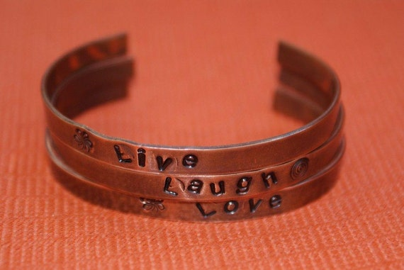 "Copper Hand Stamped Cuff Bracelet Trio ""Live, Laugh, Love"""
