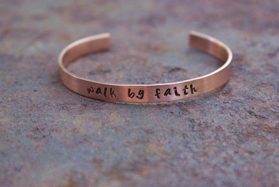 "Personalized 1/4"" Copper Cuff Bracelet ""walk by faith"""