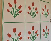 one yard pristine vintage wall paper: red, green, white/cream vintage wall paper, red tulip pattern