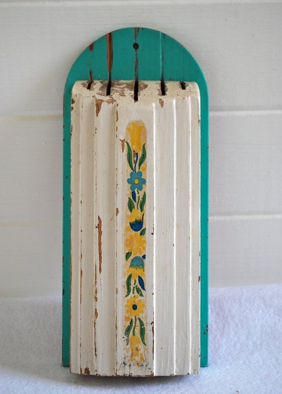 green, teal, & yellow flowers floral pattern knife holder gives any modern kitchen instant farmhouse street cred