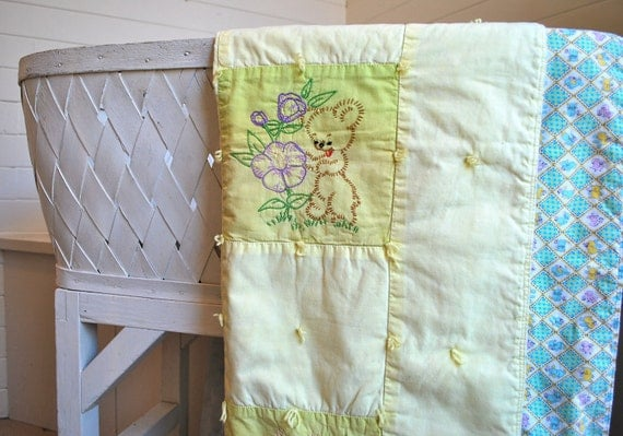 vintage baby quilt, handmade green and yellow with lion, monkey, zebra, giraffe, elephant, and bear floral applique