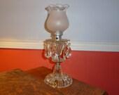 Clearance SALE- Vintage Cut Glass Mantel Lamp