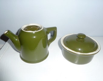 Hall Teapot and Small Covered Casserole in Olive Green