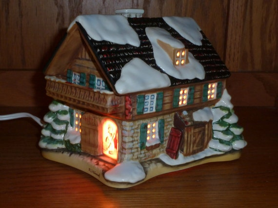 """Free Shipping - M.J. Hummel """"Company's Coming"""" Porcelain Lighted Christmas Cottage"""