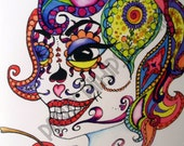 Mexican card sugar skull with cupcakes notecard/ Valentine