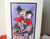 Lady Ring Master with her Mime greeting card