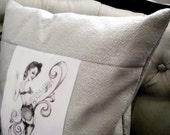 Pin up Girl Toss pillow home decor Throw Pillow silver/grey