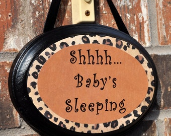 Baby Sleeping Sign, Leopard Print