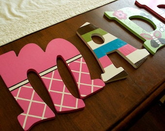 Hand Painted Nursery Letters, CoCaLo Taffy Bedding
