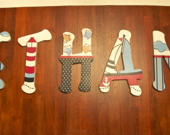 Custom, Hand Painted Nursery Letters, Nautical Theme