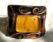 Carved unique jewelry Wooden bracelet with big baltic amber