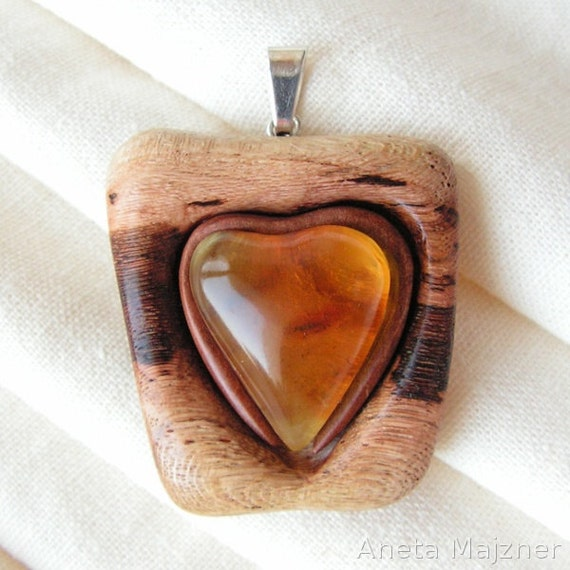 Heart Pendant made of natural yellow baltic amber and wine wood Artistic Jewelry