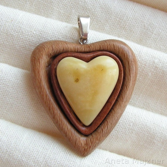 Heart Pendant made of natural yellow baltic amber and wood Artistic Jewelry