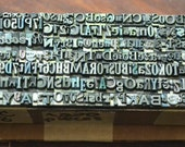 220 pieces vintage letterpress metal type - mix of fonts, sizes, letters, numbers and punctuation - TC8