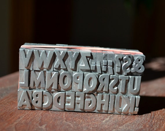 Vintage metal printers letterpress type - complete upper case and punctuation 36 point Sans Serif Extrabold Condensed
