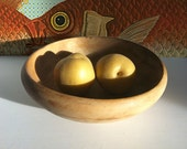 Vintage Occupied Japan Bowl - rustic Japanese wood salad bowl, fruit bowl, bread bowl, display bowl - 1940s
