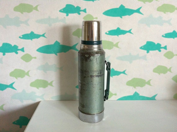 Gone Fishing- vintage green Stanley metal thermos is an icon of guys fishing trips and the man's man everywhere - nice conversation piece