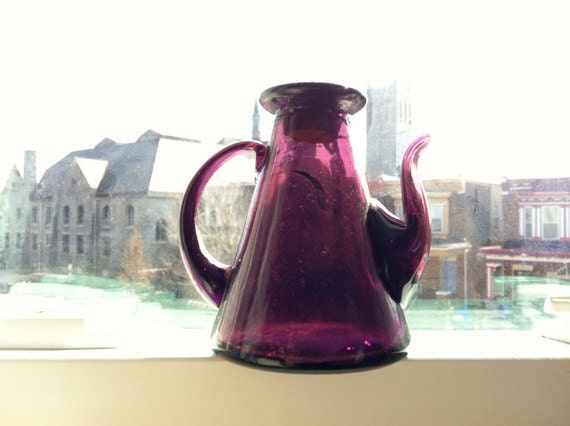 Decorative Vintage Purple Glass Bottle - hand blown glass oil or vinegar cruet with cork and interesting pyramid shape