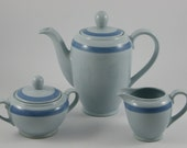 RESERVED FOR ROSEMARY Lovely Arabia Finland Ribbons-Blue Coffee Pot with Cream And Sugar