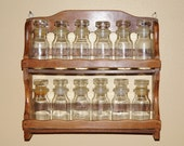 Vintage Spice Rack w/ Apothecary Glass Jars & Wooden Rack