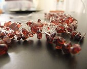 Garnet and Silver Wire Crochet Necklace