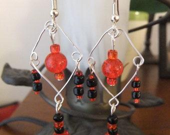 Black and Red Chandelier Earrings