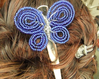 Cobalt Blue Butterfly Beaded Hair Clip
