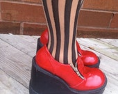 90s Patent Leather Red Club Kid Platform Wedge shoes 7.5